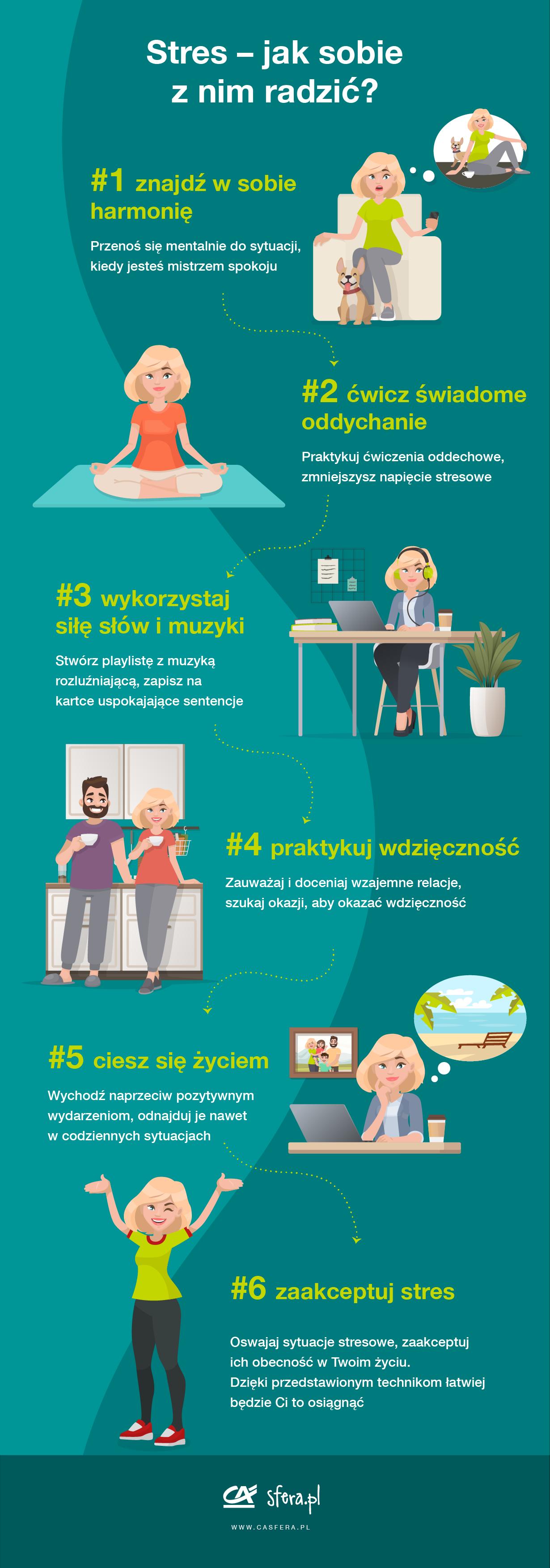 Stres - jak sobie z nim radzić? - infografika